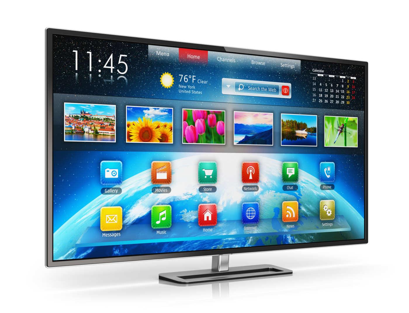 Telewizor 50 Cali z włączoną funkcją Smart TV.